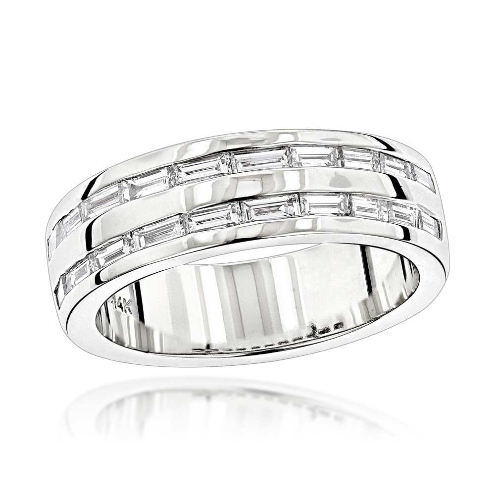 14K Gold Baguette Diamond Men's Wedding Ring 1.10ct White Image