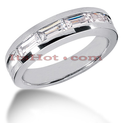 14K Gold Baguette Diamond Men's Wedding Ring 2ct Main Image