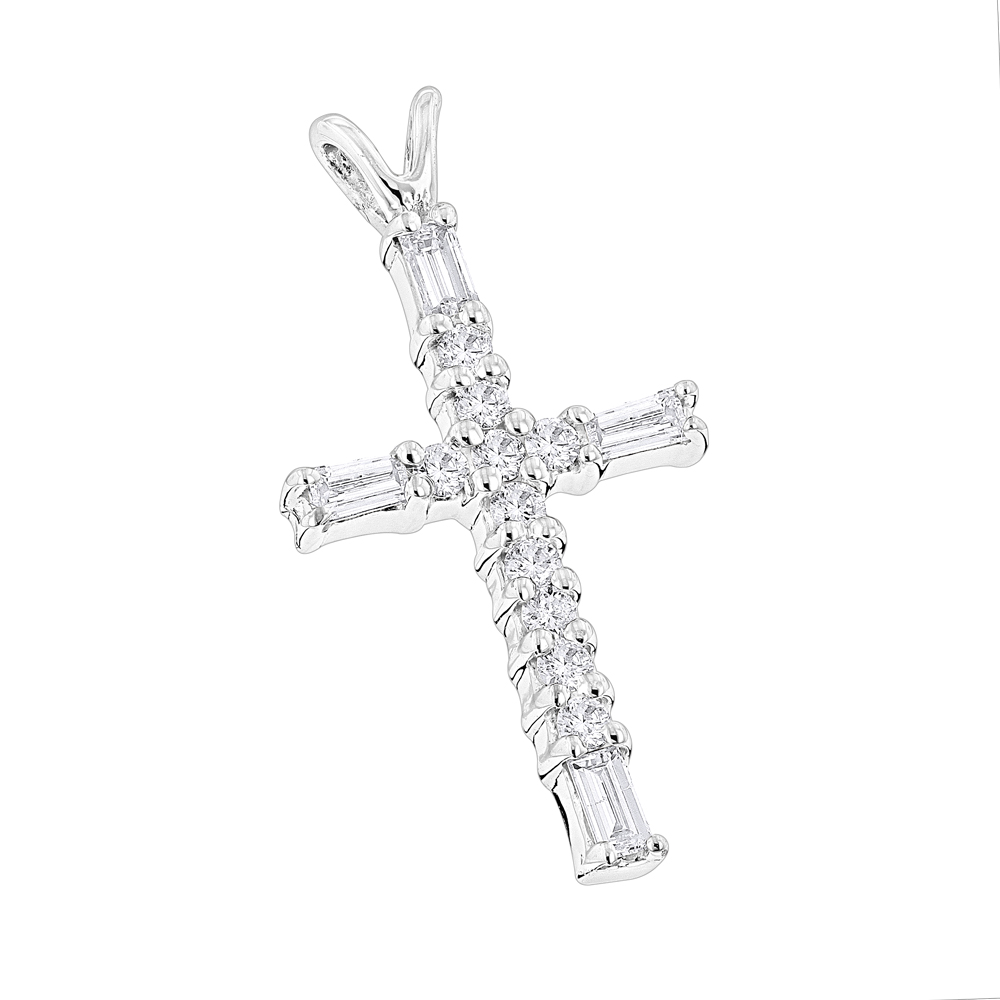 14K Gold Baguette & Round Diamond cross necklace 0.35ct White Image