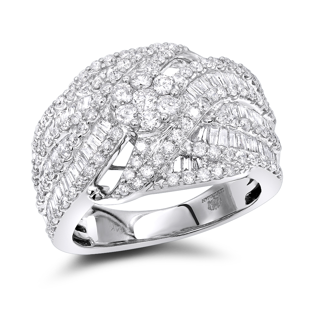 14k Gold Baguette Round Diamond Ladies Cocktail Ring 2.25ct by Luxurman White Image