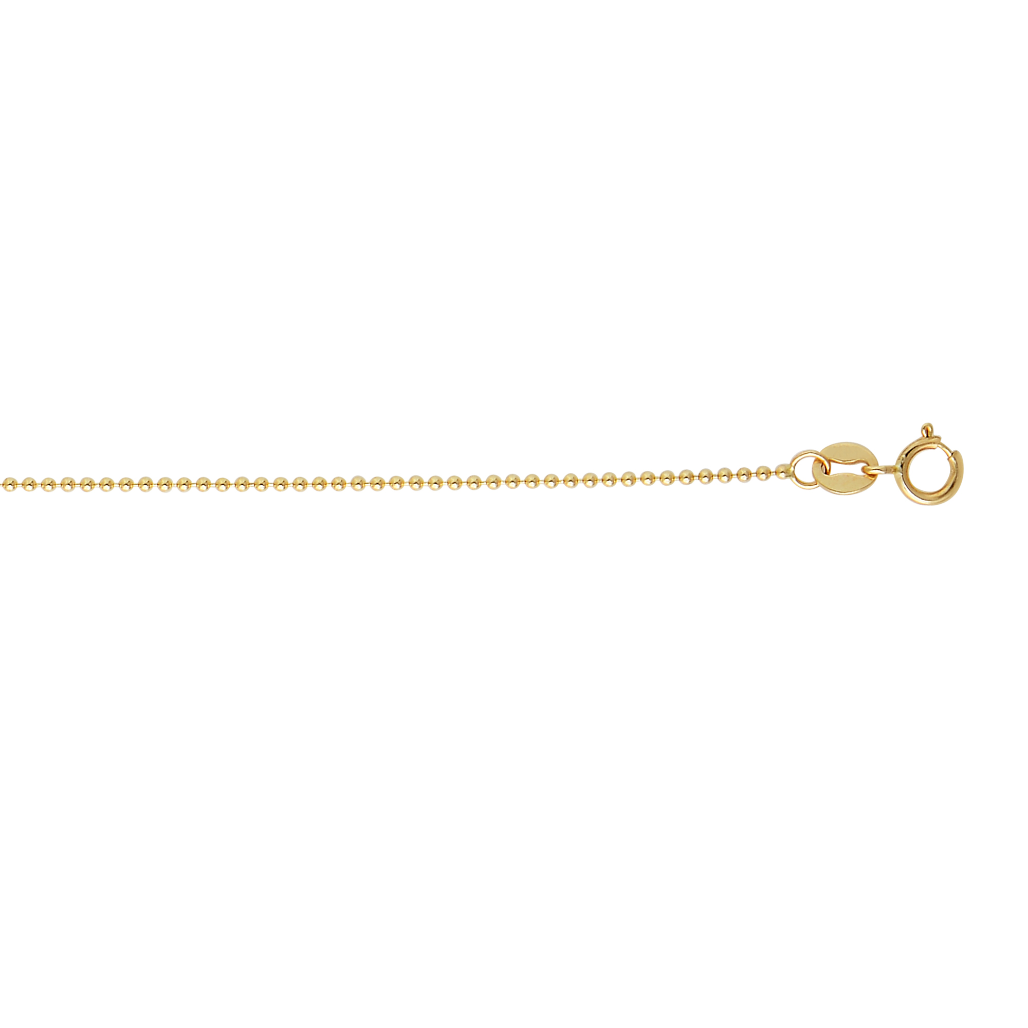 14k Gold Bead Dog Tag Chain For Women 1mm Wide Yellow Image