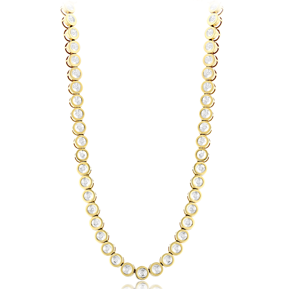 14K Gold Bezel Set Round Diamond Chain Necklace 4.75ct Yellow Image
