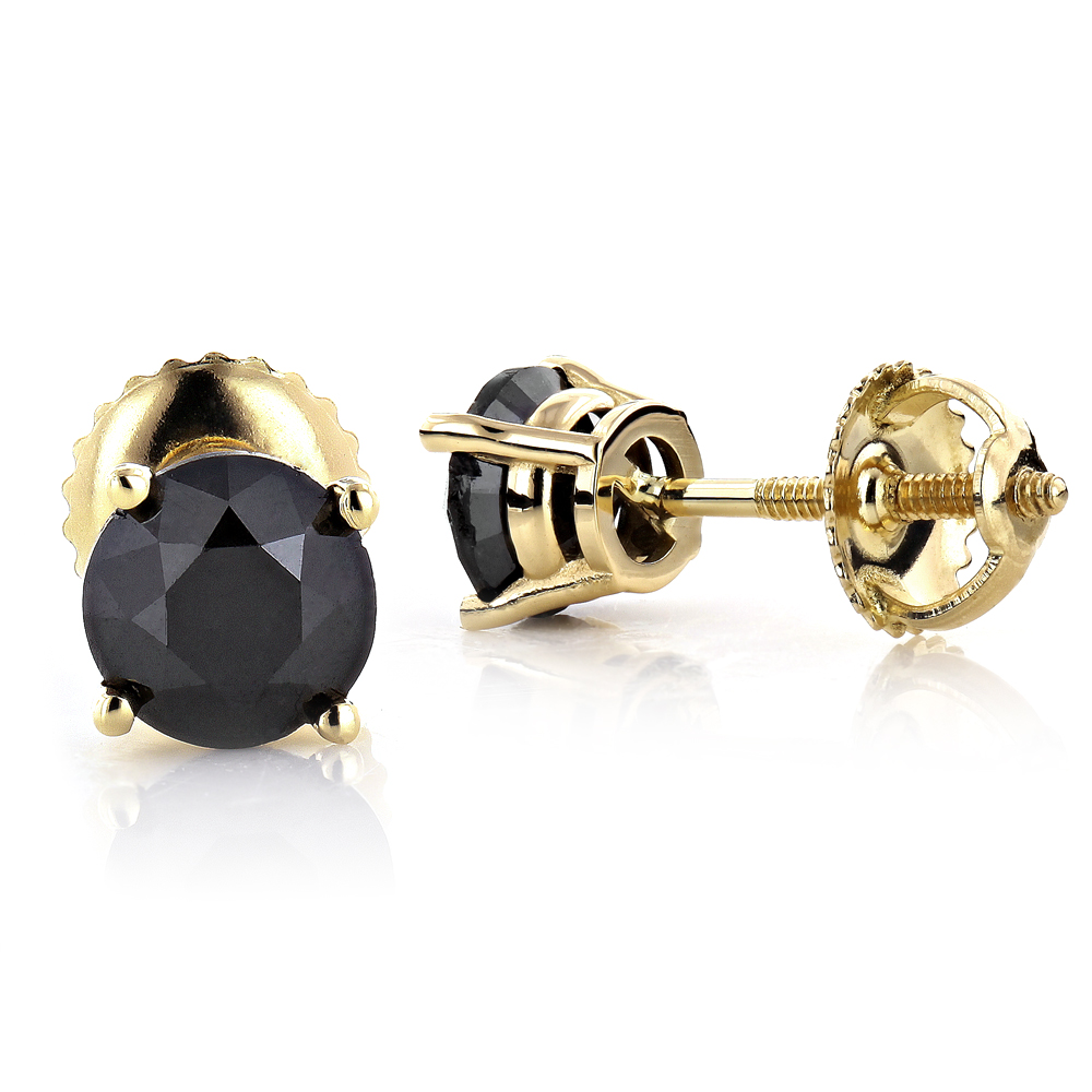 14K Gold Black Diamond Earrings Prong Set Studs 1.25ct Yellow Image