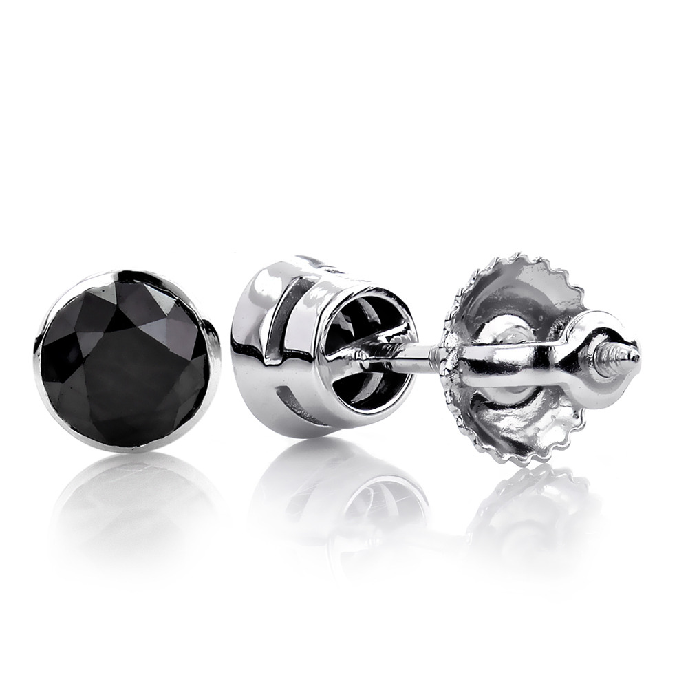 stud round sterling product cut silver diamond earrings treasures black
