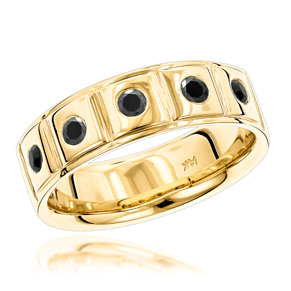 14K Gold Black Diamond Wedding Band For Men Comfort Fit Five Stone Ring Yellow Image