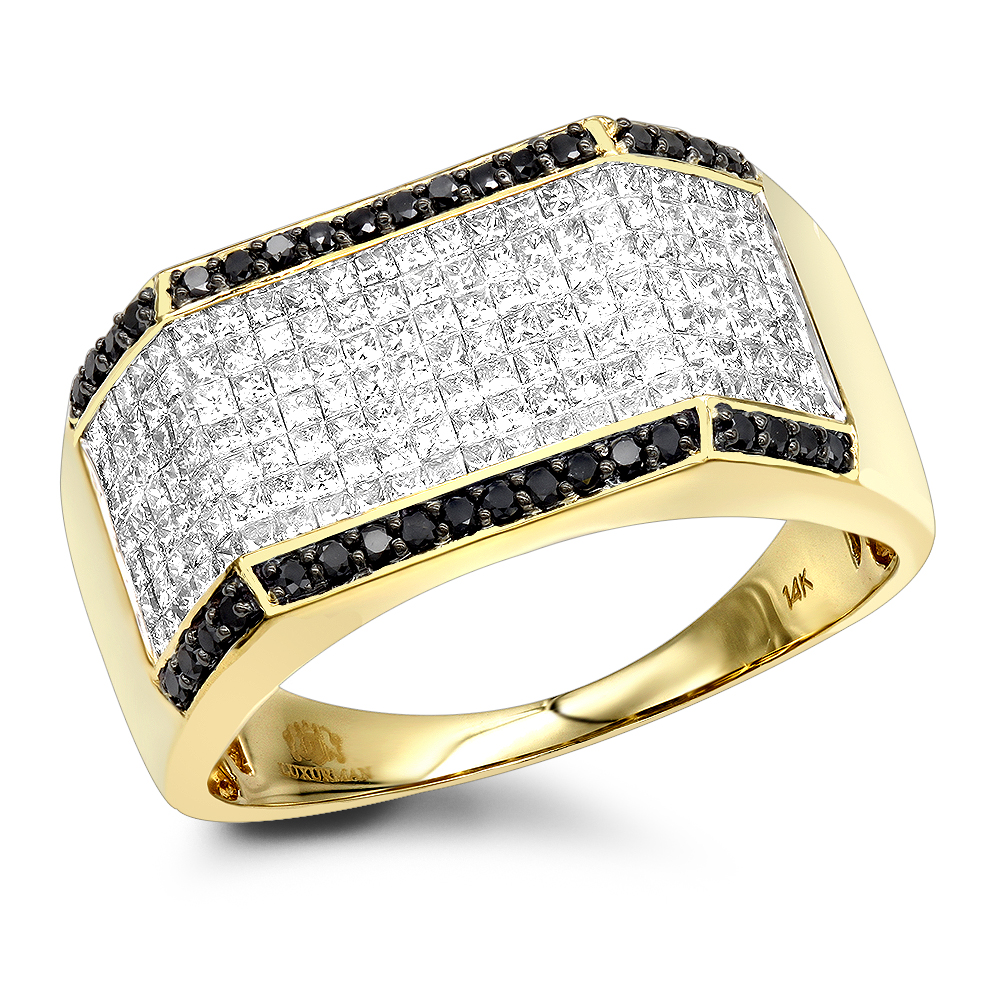 14K Gold Black White Round Princess Diamond Ring for Men 2.2ct by Luxurman Yellow Image