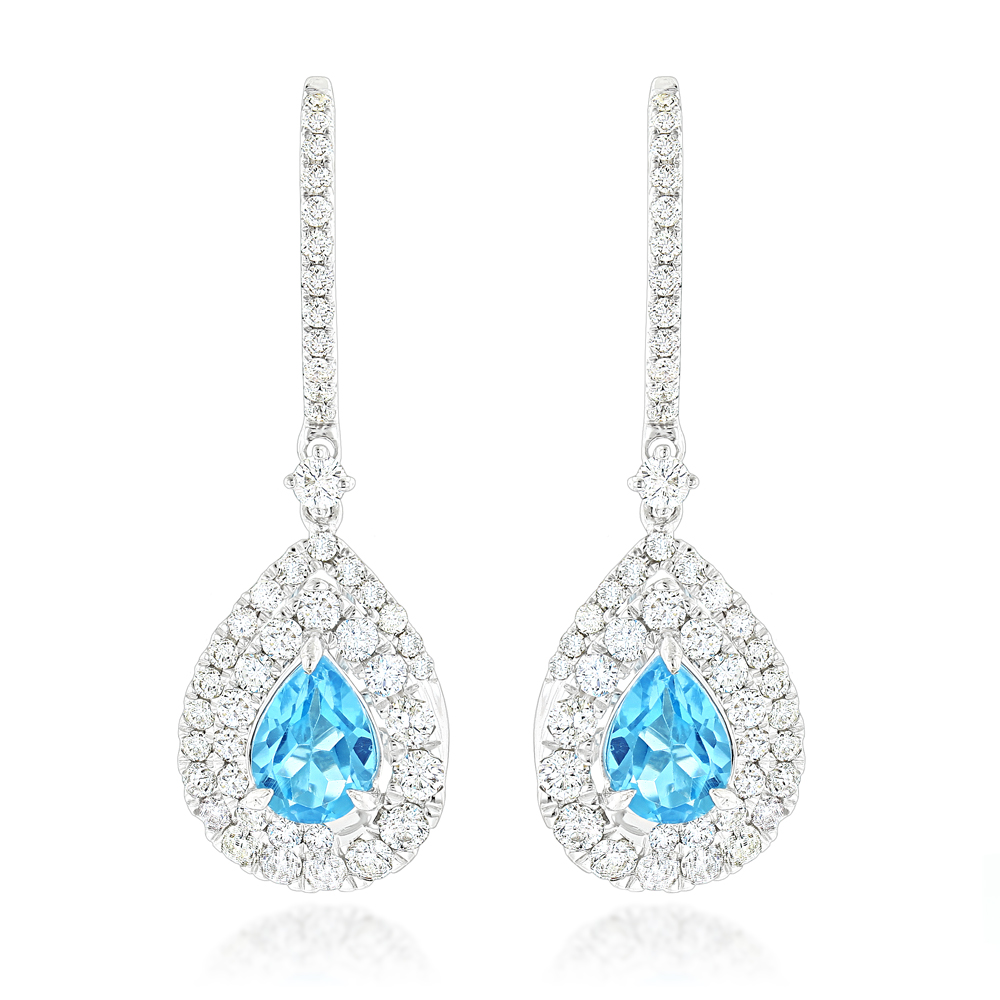 14K Gold Blue Topaz Diamond Drop Earrings for Women 1.66ct by Luxurman White Image