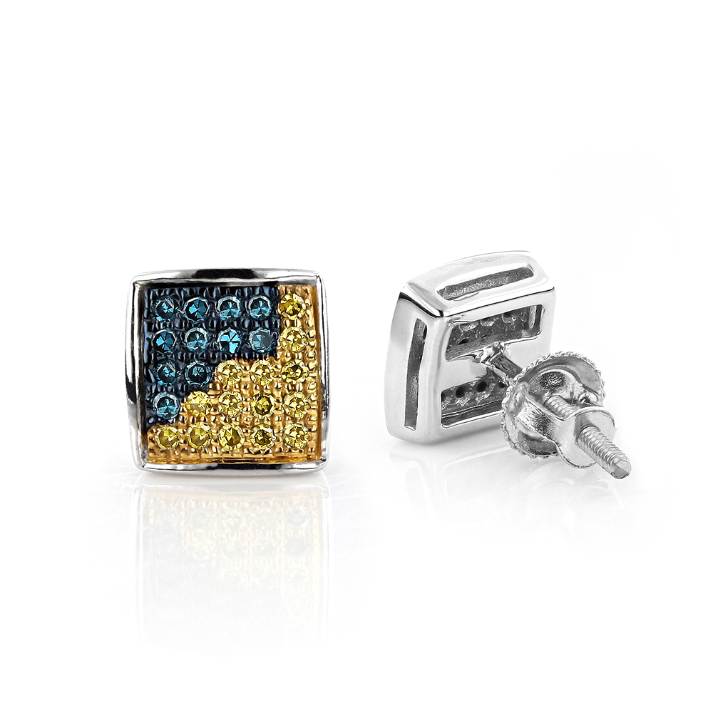 14K Gold Blue Yellow Diamond Earrings 0.19ct White Image