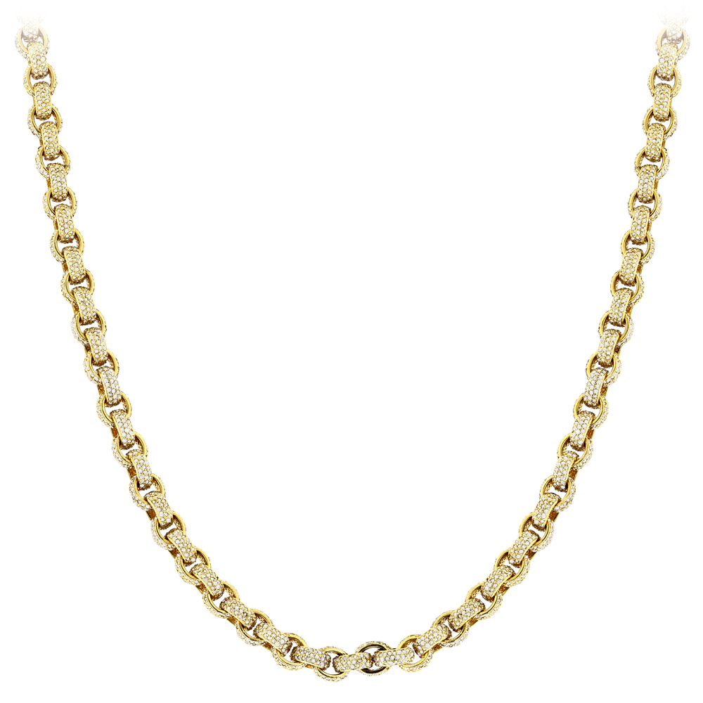 Hip Hop 14K Gold Cable Chain Eternity Diamond Necklace for Men 40.25ct Yellow Image