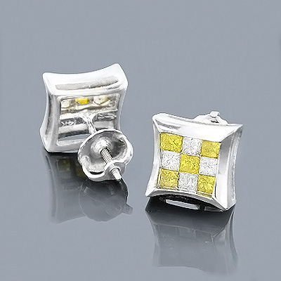 14K Gold White and Yellow Diamond Stud Earrings 1ct Main Image