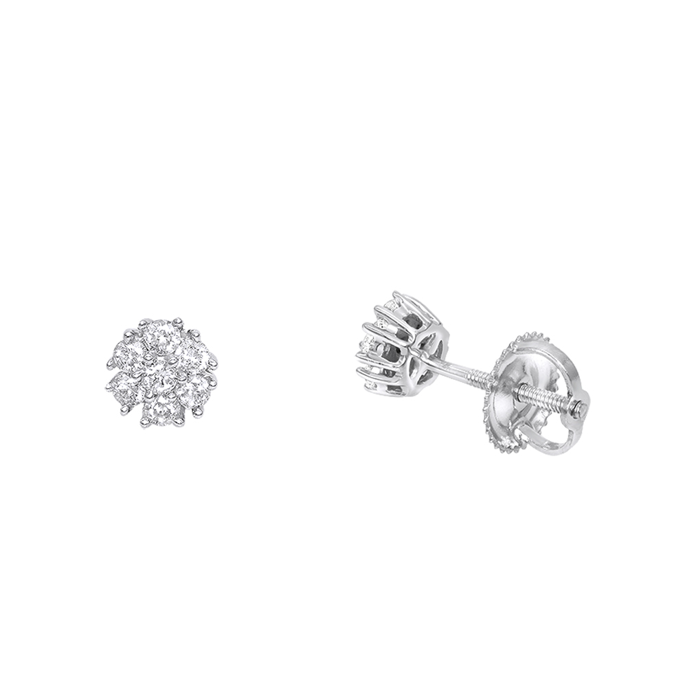 14K Gold Cluster Flower Diamond Stud Earrings for Women 0.25ct by Luxurman White Image