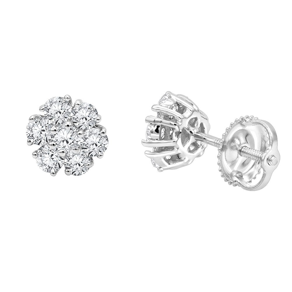 14K Gold Cluster Flower Diamond Stud Earrings for Women 0.75ct by Luxurman White Image