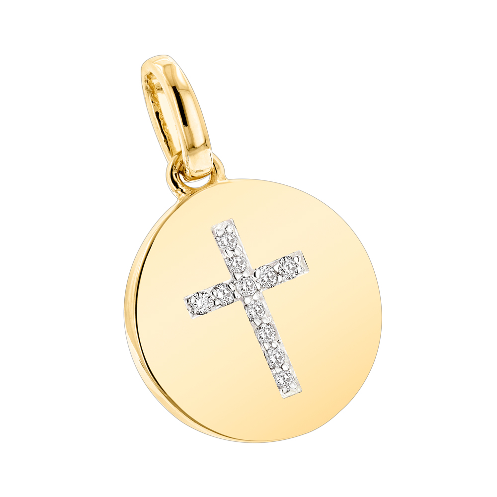 14K Gold Cross in a Circle Diamond Pendant 0.11ct Yellow Image