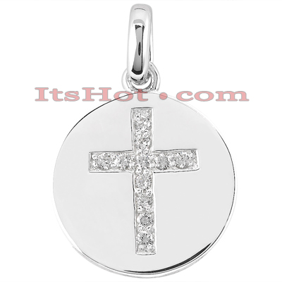 14K Gold Cross in a Circle Diamond Pendant 0.33ct Main Image