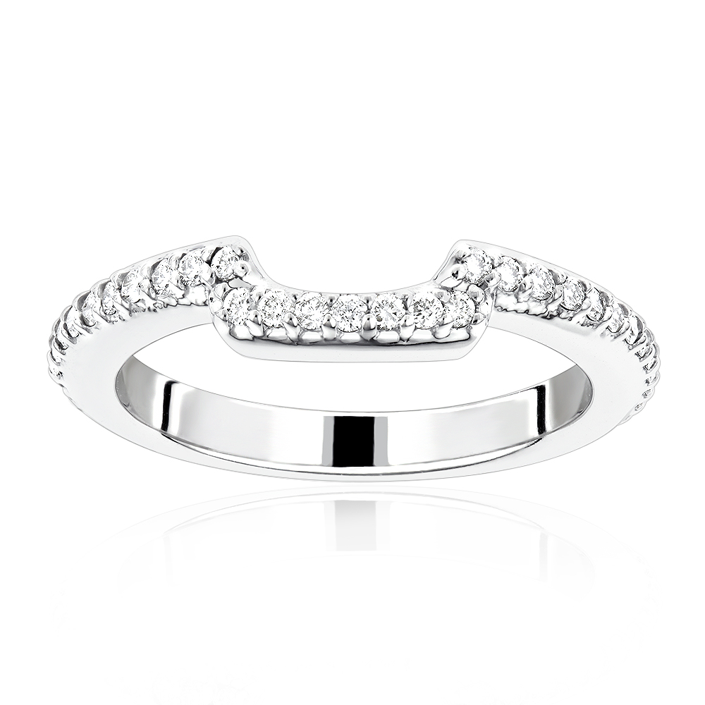 14K Gold Curved Diamond Wedding Band for Women 0.5ct White Image