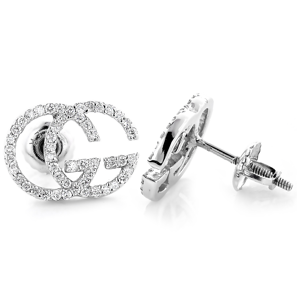 14K Gold Custom Made Diamond Earrings 0.55ct G Initials Letters Studs Main Image