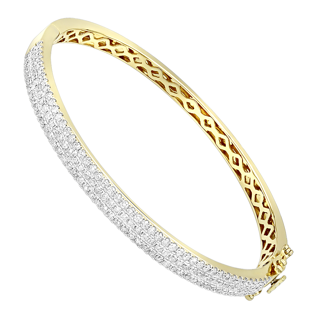 14K Gold Designer 2 Carat Diamond Bangle Bracelet for Women by Luxurman Yellow Image