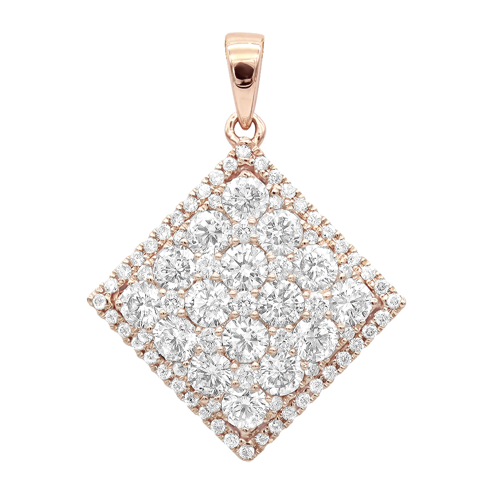 14K Gold Designer 2 Carat Diamond Square Pendant for Women by Luxurman Rose Image