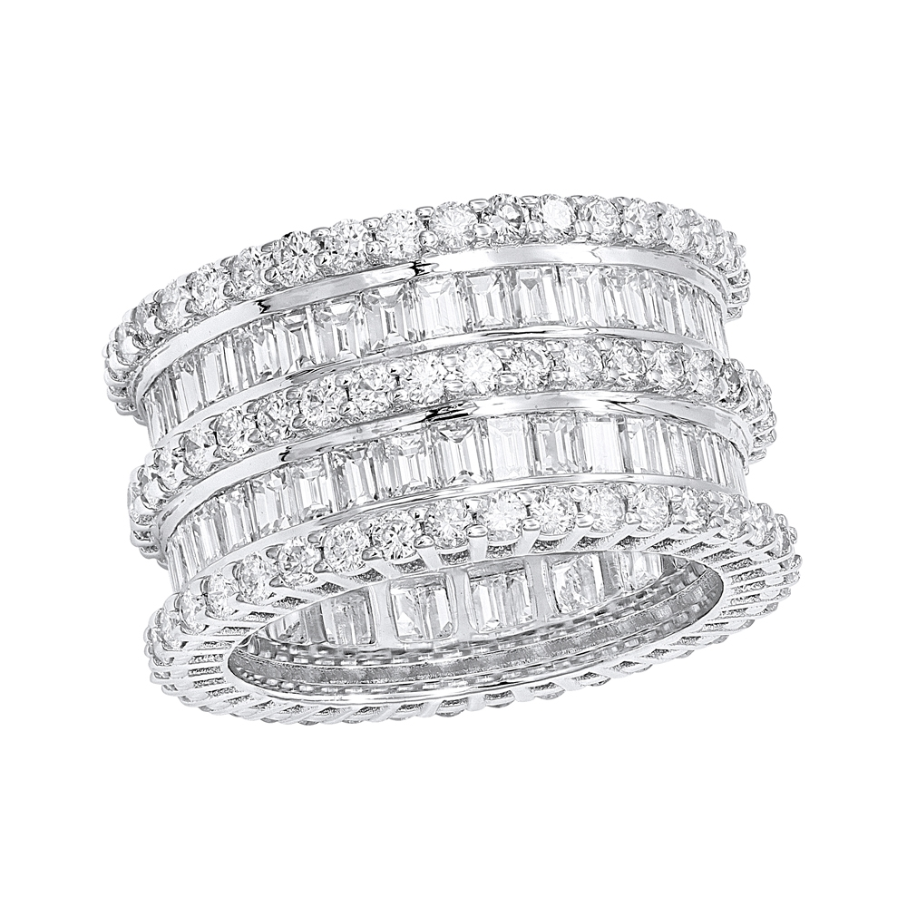 18K Gold Designer Baguette Round  Diamond Eternity Ring 7.8ct by Luxurman White Image