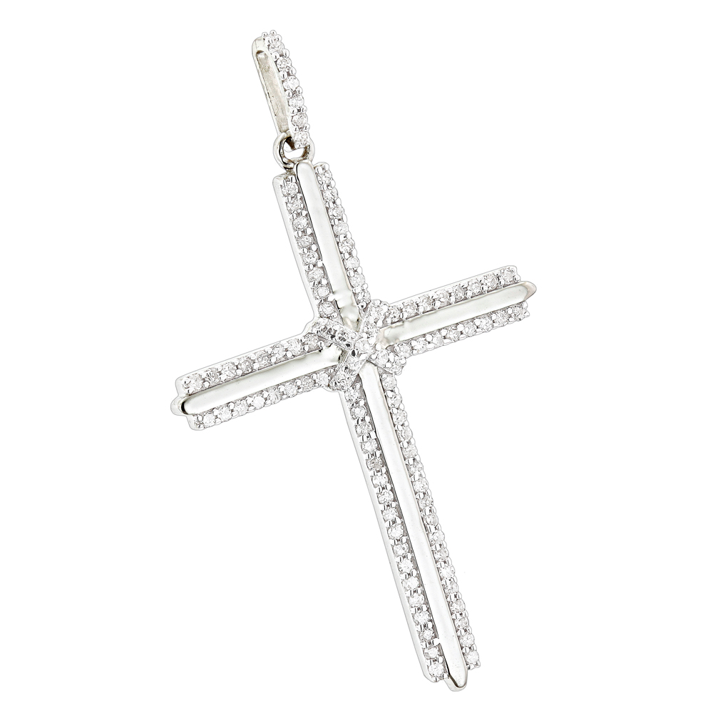14K Gold Designer Diamond Cross Pendant 0.42ct White Image