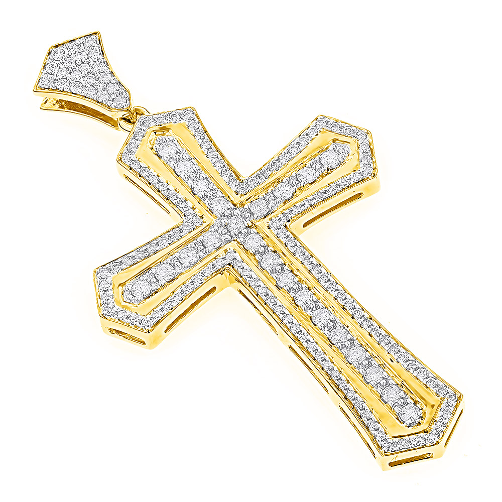 14K Gold Designer Diamond Cross Pendant for Men by Luxurman 2.5ct Yellow Image