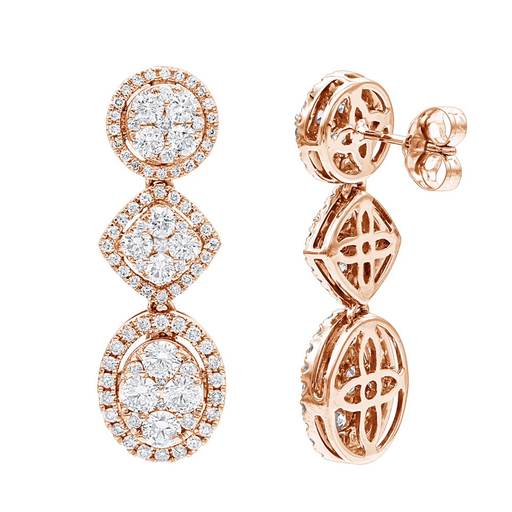 14K Gold Designer Diamond Drop Earrings for Women 2.5ct by Luxurman Rose Image