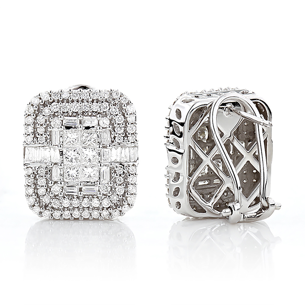 14K Gold Designer Diamond Earrings Multi-Tier 2.48ct White Image