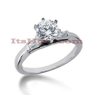 14K Gold Unique Round and Baguettte Diamond Engagement Ring 0.62ct Main Image