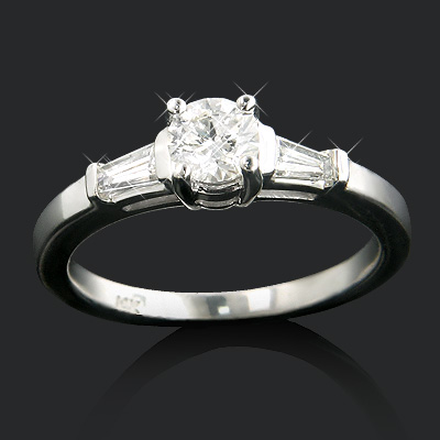 14K Gold 3-Stone Designer Baguette and Round Diamond Engagement Ring 0.70ct Main Image