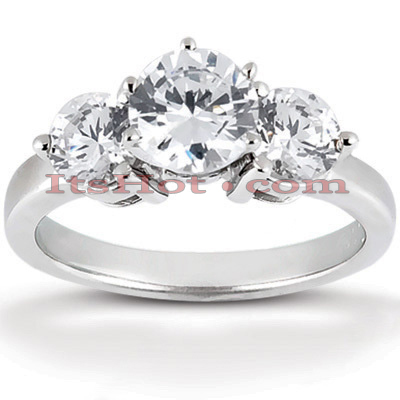 14K Gold Designer 3 Stone Diamond Engagement Ring 0.70ct Main Image