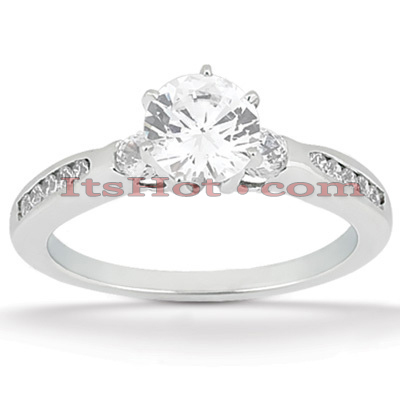 14K Gold Unique Designer Prong and Channel Set Diamond Engagement Ring 0.70ct Main Image
