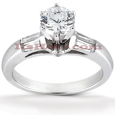 14K Gold Designer Baguette and Round Diamond Engagement Ring 0.74ct Main Image