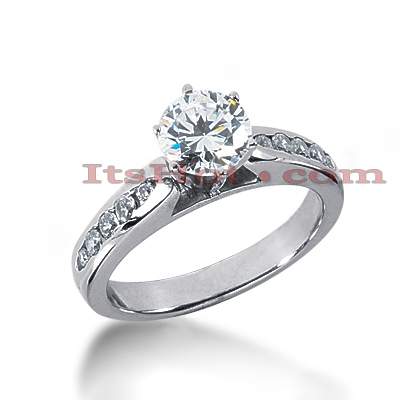 14K Gold Designer Prong and Channel Set Diamond Engagement Ring 0.74ct Main Image