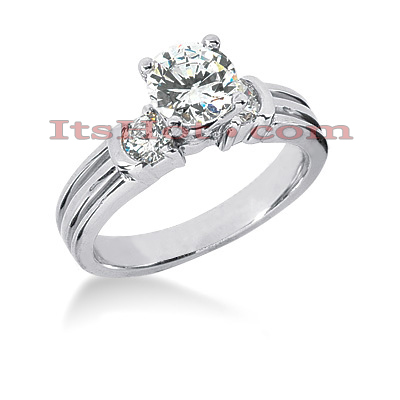 14K Gold Prong Set Designer Diamond Engagement Ring 0.74ct Main Image