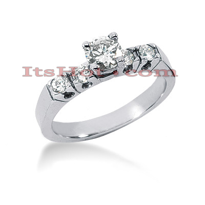 14K Gold 5 Stone Designer Diamond Engagement Ring 0.74ct Main Image