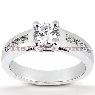 14K Gold Designer Prong and Channel Set Diamond Engagement Ring 0.75ct Main Image