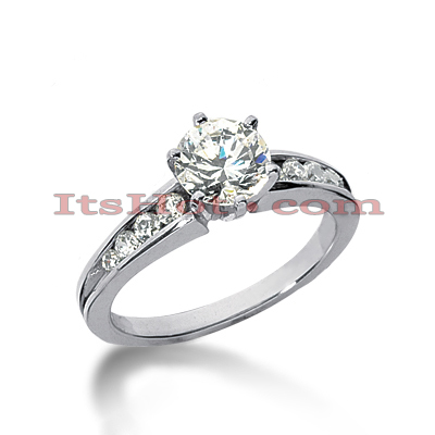 14K Gold Designer Prong and Channel Diamond Engagement Ring 0.76ct Main Image