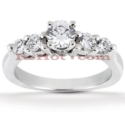 14K Gold Designer Prong Set Diamond Engagement Ring 0.76ct Main Image
