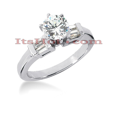 14K Gold Unique Bar and Prong Set Diamond Engagement Ring 0.78ct Main Image