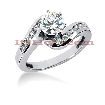14K Gold Designer Prong and Channel Set Diamond Twisted Swirl Engagement Ring 0.78ct Main Image