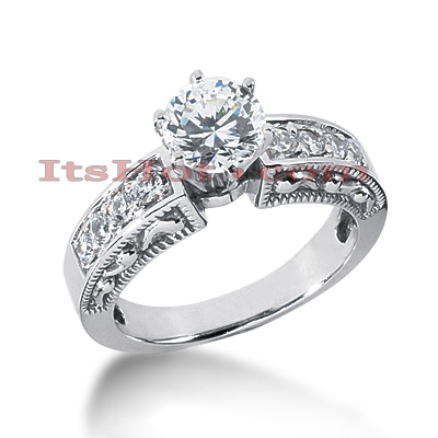 14K Gold Designer Diamond Engagement Ring with Intricate Milgrain 0.78ct Main Image