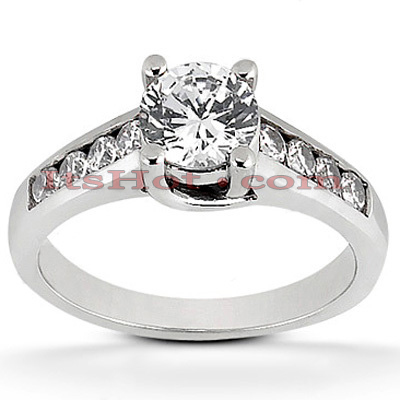 14K Gold Prong and Channel Set Diamond Engagement Ring 0.80ct