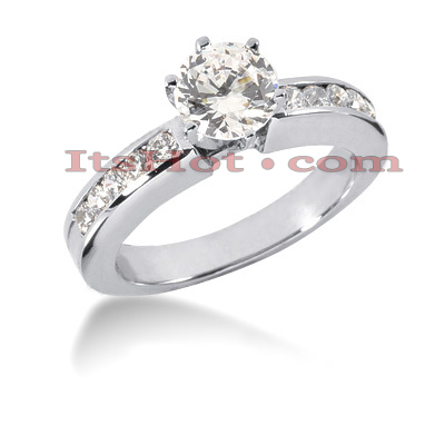 14K Gold Designer Prong and Channel Set Handmade Diamond Engagement Ring 0.80ct Main Image