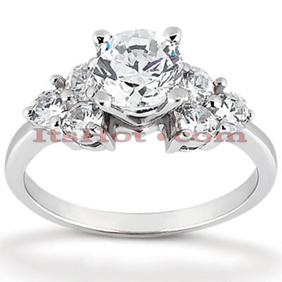 14K Gold Designer Round Diamond Unique Engagement Ring 0.80ct Main Image