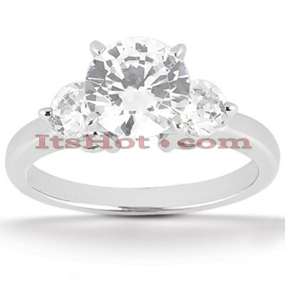 14K Gold 3 Stone Diamond Engagement Ring 0.80ct Main Image