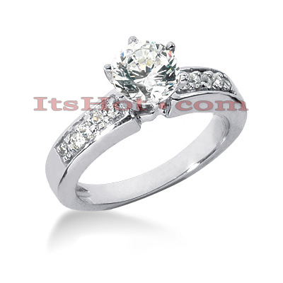 14K Gold Round Diamond Handmade Engagement Ring 0.80ct Main Image