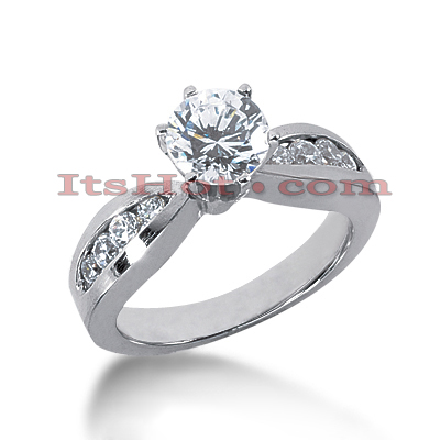 14K Gold Designer Prong and Channel Set Diamond Engagement Ring 0.82ct Main Image