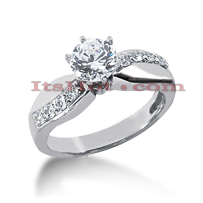 14K Gold Designer Round Diamond Engagement Ring 0.82ct Main Image
