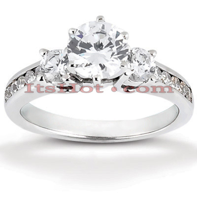 14K Gold Designer Prong and Channel Set Diamond Engagement Ring 0.85ct Main Image