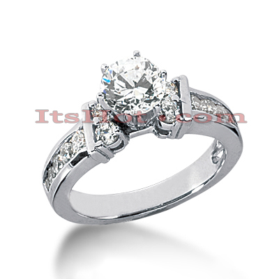 14K Gold Designer Prong and Channel Set Diamond Engagement Ring 0.86ct Main Image